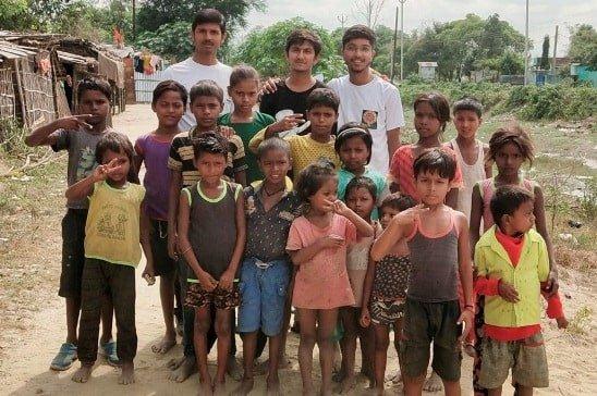 Bipul With Children Of Village