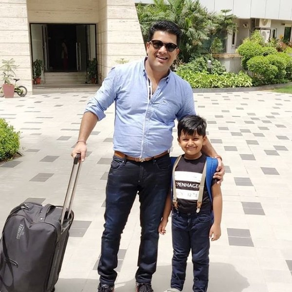 Abhishek S Chauhan With His Son