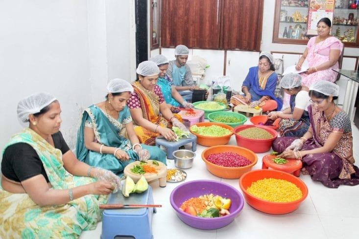 Giving employment to 9 needy women